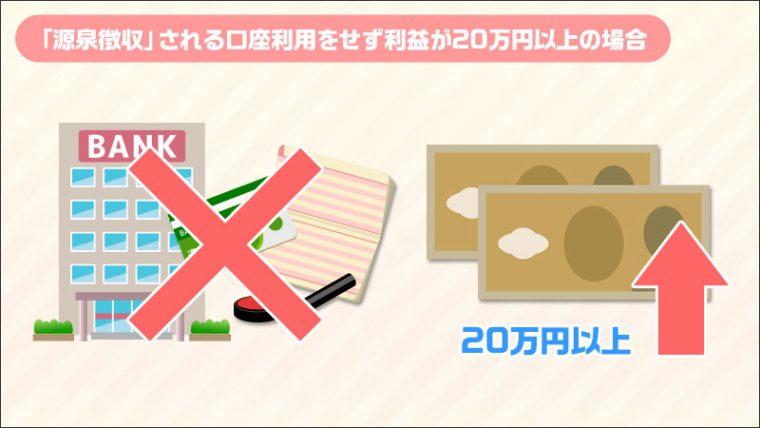 「源泉徴収」される口座利用していない20万円以上
